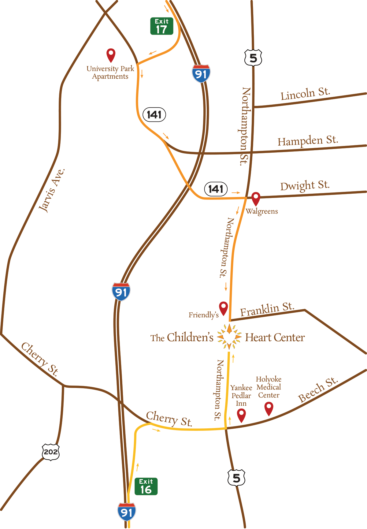Map to The Children's Heart Center